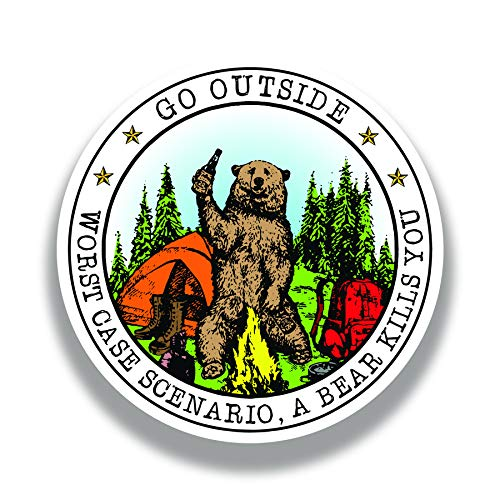 More Shiz Go Outside Worst Case Scenario A Bear Kills You Vinyl Decal Sticker - Car Truck Van SUV...
