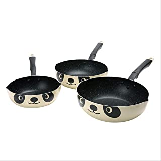 AOLI Pot Keelorn 20Cm Panda Saute Pans Non-Stick Without Pot Cover Aluminum Alloy General Use for Gas and Induction Cooker Pans