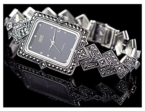 CHXISHOP 925 Reloj de Pulsera de Plata esterlina con Incrustaciones con Incrustaciones de Cristal Retro Reloj de dial Rectangular Reloj de Cuarzo Reloj de la Nave de la Mujer black-17.5cm