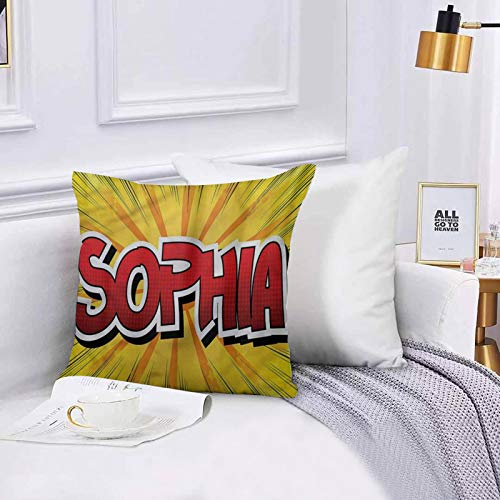 Cushion Cover Throw Pillow Unique Retro Comic Western Name, Throw Pillow Covers Set 45x45 cm for Couch Chair Bedroom