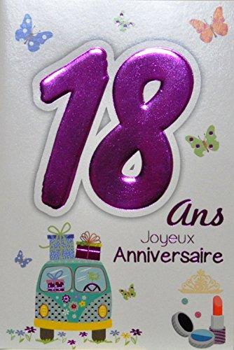 Age Mv 69-2019 Carte Joyeux Anniversaire 18 ans Fille Jeune Femme Adulte motif Majorité Majeure Permis B Conduire Voiture Cadeaux Maquillage Papillons