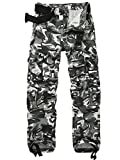 AKARMY Men's Cargo Pants, Military Tactical Casual Pants, Lightweight Cotton Work Pants with Multi Pockets K18 Black White Camo