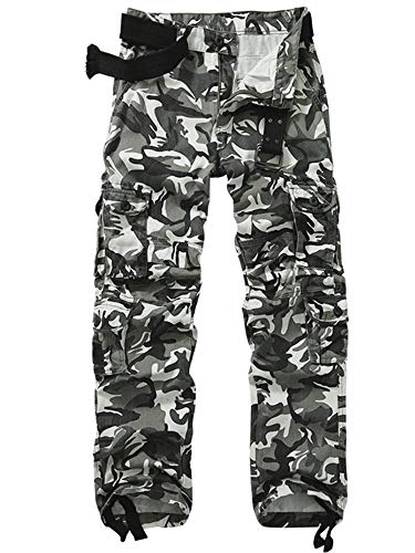 AKARMY Men's Military Tactical Pants Work Cargo Pants Casual Relaxed Fit Trousers with Multi Pockets K18 Black White Camo