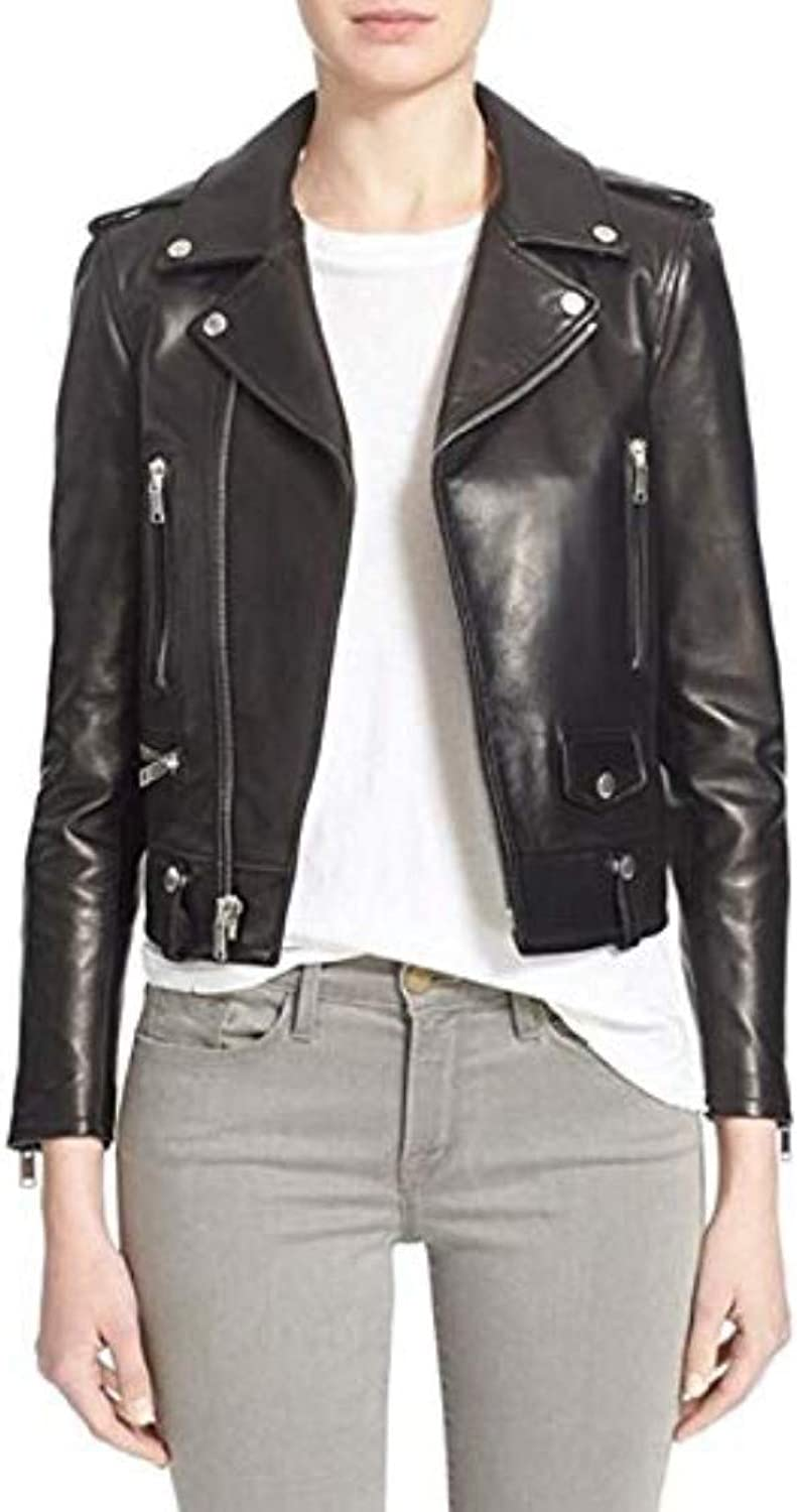 New Fashion Style Women's Leather Jackets Black N42_