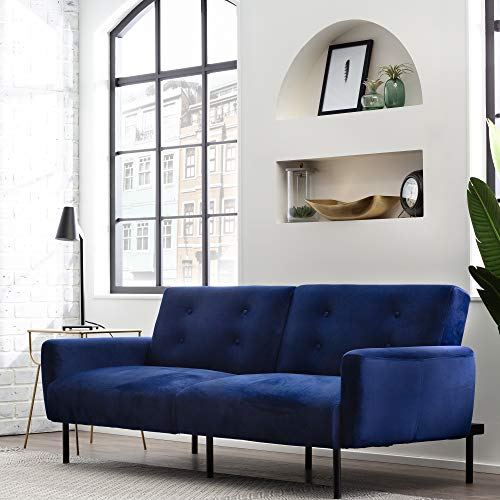 Edenbrook GilmanConvertible FoldingFuton Modern Square Arm Design-CompactCouch Bed–Fabric,Faux Leather, Deluxe, Navy Blue Velvet