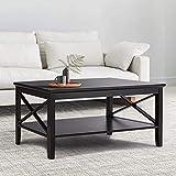 Kaffeetisch Wohnzimmer Tisch Moderner Couchtisch aus Holz mit Lagerregal (Schwarz)