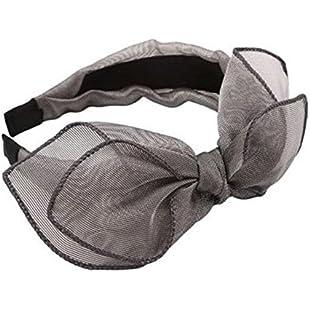 Customer reviews ODN Bowknot Mesh Headband Bow Head Band Clip Hair Women Girl Lady Hair Accessory (Gray)