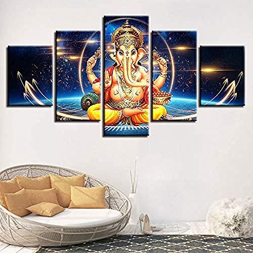 WxzXyubo Carteles Cuadros de Lienzo modulares 5 Piezas Ganesha Elefante Dios Pinturas Decoración Hogar Dormitorio Arte de la Pared Marco Impresiones 200 x 100 cm con Marco