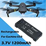 Momola GIFI Power 3.7V 1200mAh Batterie pour Eachine E58,Batterie Rechargeable,Décharge soutenue et à débit élevé,Durable,Conçu pour Eachine E58