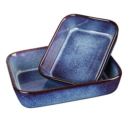 Vancasso Rechteckige Auflaufform, Capri Serie 2 teilige Ofenform Steingut, eckige Backform mit Glasur, blau