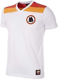 AS Roma 1980's T-Shirt Camiseta con Cuello en V, Hombre, Blanco, Medium