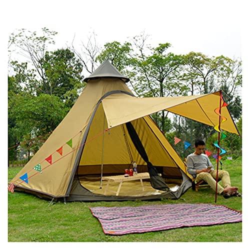 YSJJYQZ Tienda de campaña Ultralarge Camping Pyramid Tent Separado Dual Capa Camping Teepee 4 Persona al Aire Libre Hexagonal yurt Carpa para la Fiesta de Viajes Familiares (Color : Brown)
