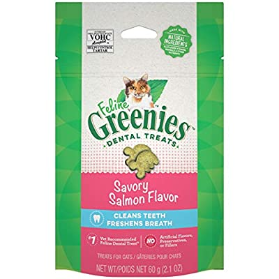 FELINE GREENIES Dental Cat Treats, Savory Salmon Flavor, 2.1 oz. Pouch