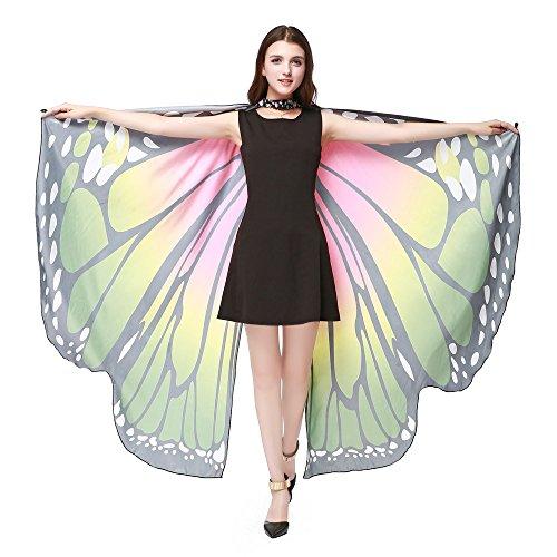 ASHOP Kostüm Damen, Frauen Party Prop Weiche Stoff Schmetterlingsflügel Schal Fee Nymph Pixie Cape Zubehör,170X140CM Grün#a,168 * 135CM