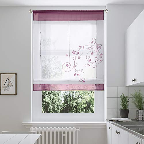 i@HOME Voile Raffrollo Raffgardinen mit Schlaufen Ösenrollo Fenster Vorhang Scheibengardinen für Fenster(Rotwein,80*100cm)