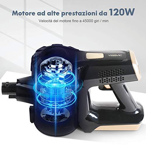 YISSVIC Scopa Elettrica Senza Fili 4-in-1, 22.2V 120W Autonomia 35 minuti,1 L Capacità Testina Rotante a 180°, Design Ciclonico a Vuoto, 3 Livelli di Filtrazione, per Casa/Auto/Animali