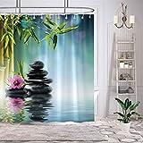 Demohome Tubo de bambú antimoho y antibacteriano, tejido de poliéster de 180 cm x 180 cm, cortina de ducha para cuarto de baño, juego decorativo con 12 ganchos, impermeable, lavable