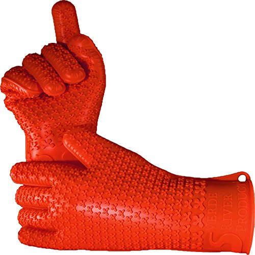 Verde River Products Silicone Heat Resistant BBQ Grilling Gloves - Best Insulated Kitchen - Oven – Grill – Baking - Smoker & Cooking - Waterproof Grip - Replace Potholder & Mitts Rust RED