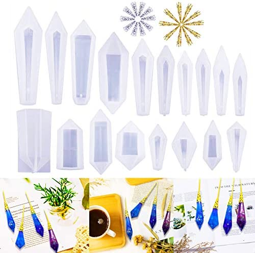 Ingsi Pendulum Resin Molds 18 Pcs Quartz Crystal Silicone Molds for Resin Casting with Metal product image