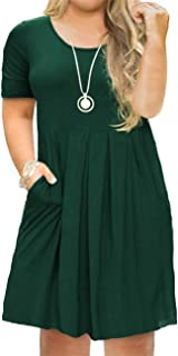 Tralilbee Women`s Plus Size Short Sleeve Dress Casual Pleated Swing Dresses with Pockets
