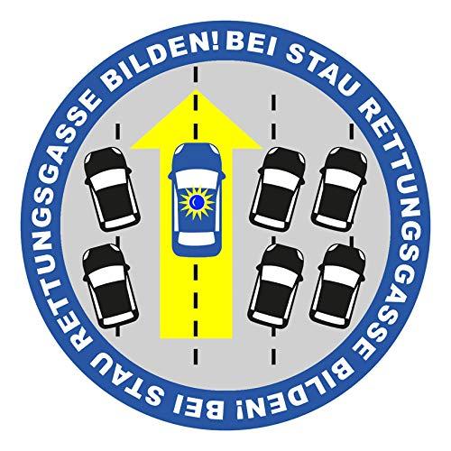 Finest Folia Autoaufkleber Bei Stau Rettungsgasse Bilden Sticker Fahrzeuge Auto Kfz Aufkleber Feuerwehr THW Polizei Verhalten bei Unfall Rettungsdienst R099 (Blau)