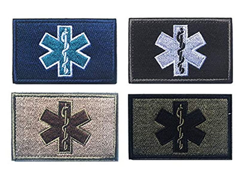 Antrix 4 Pieces EMT Star of Life Medical Medic Cross Military Morale Patch Hook & Loop Tactical Morale Patches - 3.15