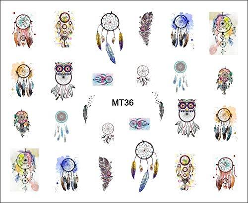 PMSMT 1 Hoja MT36 Moda de uñas búho atrapasueños Pop Nail Art Pegatina de Transferencia de Agua calcomanía para uñas Arte Tatuaje Puntas DIY Herramienta de uñas