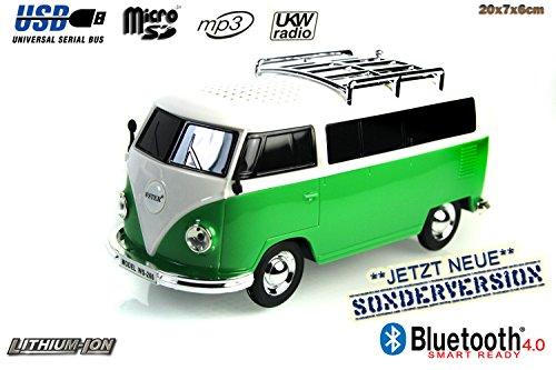 Nostalgie Bully-Box in GRÜN  CAR Multimedia Spaeker   Bluetooth  Radio   MP3   USB   MicroSD  SUPER Sound  Lithium-Ionen Akku 20x7x6cm