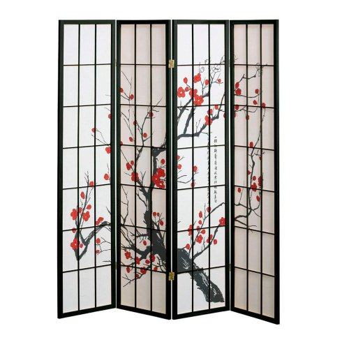 Home Decorators Collection 4 Panel Cherry Blossom Design Room Divider, 4-Panel, Black