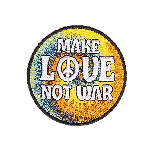 Make Love Not War Peace Zeichen Aufnäher Bügelbild Größe 7,4 x 7,4 cm