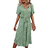 BROVAVE Women Summer Casual Short Sleeve Ditsy Floral Midi Dress (Green,l)
