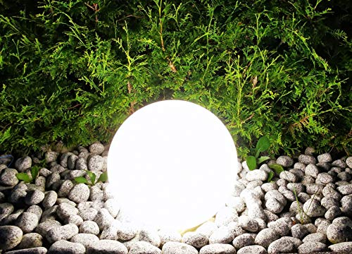 Trango 500 Gartenkugel Leuchte IP44 Kugelleuchte 50cm Durchmesser *GARDEN* in Weiß mit je 5m Zuleitungskabel & 1x E27 Fassung, geeignet für LED Leuchtmittel Gartenleuchte, Außenleuchte, Gartenstrahler