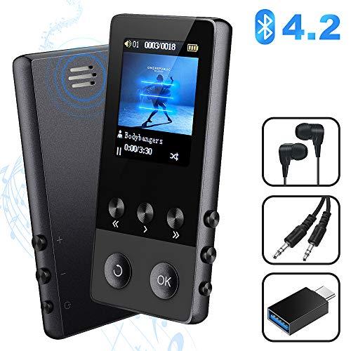 MP3 Player, 8GB Bluetooth Sport Musik Player mit Lautsprecher, Portable MP4 Player mit FM Radio Voice Recorder E-Book Pedometer, 1.8'' TFT Bildschirm, Unterstützt bis 128 GB SD Karte