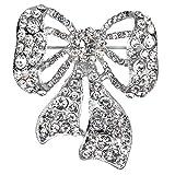 Jones New York Silver Ribbon Clear Crystal Rhinestones Brooches and Pins