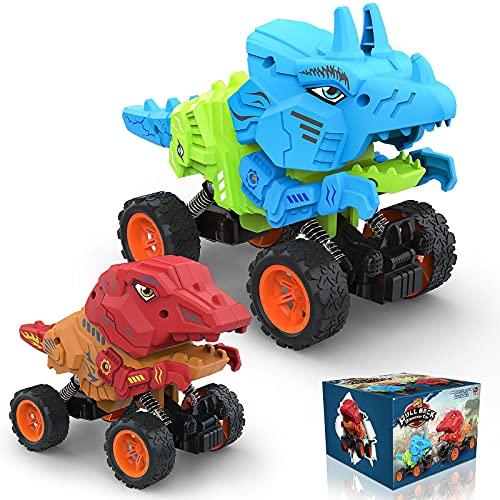 Allaugh Dinosaurio Pull Back Coches, 4WD Dinosaurio Coches, Dinosaurio de Juguete para Niñas 3 4 5 6 7 8 9 10 Años, Animales Juguetes para Regalos Cumpleaño Juegos de Interior y Exterior ( 2PCS)