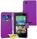 FoneExpert® Wallet Hülle Flip Cover Hüllen Etui Ledertasche Lederhülle Premium Schutzhülle für HTC Desire 320 + Bildschirmschutzfolie (Lila)