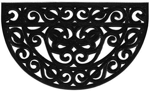 Casa Service - Felpudo Iron con forma de medialuna de goma, 45 x 75 cm, para entrada de exterior, estilo hierro forjado,...