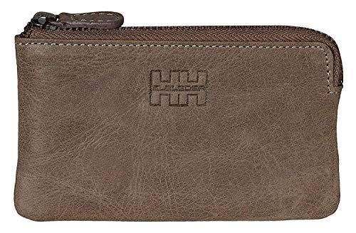 Elbleder Schlüsseletui Leder Grau-Braun Vintage auch als Echtleder Mini-Geldbörse Damen Herren RFID Schutz Blocker für Kreditkarten und Bankkarten Schlüsseltasche Schlüsselmäppchen Schlüsselmappe