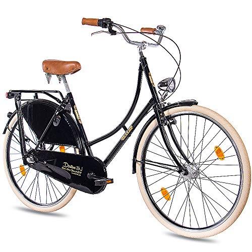 KCP 28 Zoll Citybike Damen Hollandrad - Deritus N3 schwarz - Damen-City-Fahrrad mit Shimano Nexus 3 Gang Nabenschaltung und Shimano Nabendynamo, Vintage Damenfahrrad mit Rücktrittbremse