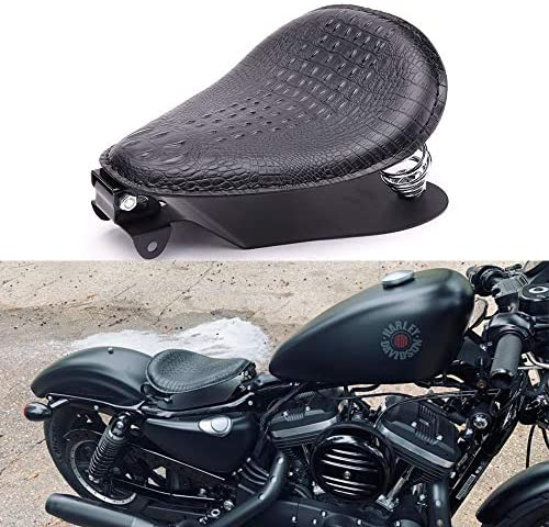 Rich Choices Black Crocodile Leather Solo Seat with Spring Bracket Kit for Harley Davidson Sportster product image