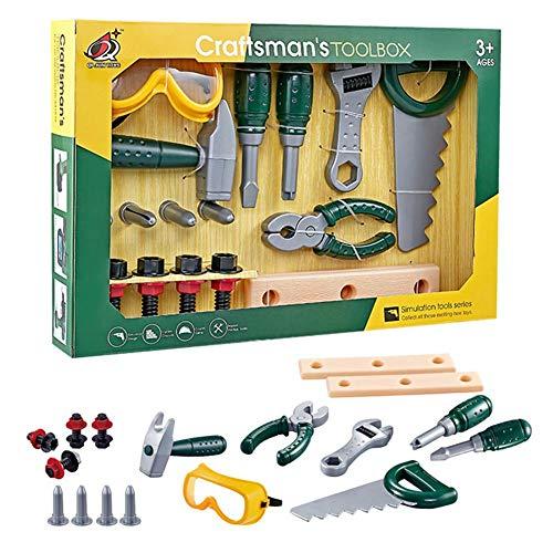 QUUY Juego de herramientas para niños, simulación, reparación, juguete, taller, juego de rol con gafas de casco, herramientas de mano, juguetes educativos para niños y niñas