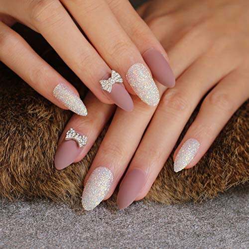 QULIN Faux ongles Matte Glitter Diy Nail False Nail Burgundy Black Wedding Nails Butterfly 3D Bowknot Flowers Full Set 24 pièces/set