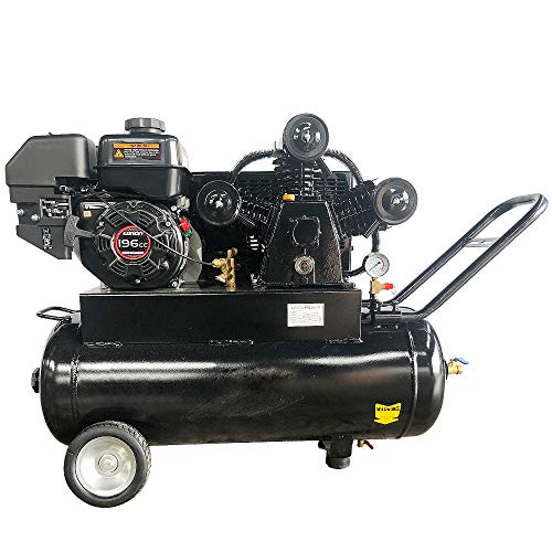 HPDAVV Gas Driven Piston Air Compressor 6.5HP-One Stage-20Gal ASME Tank-17cfm @ Max 125psi - fit for PET Certified Gasoline Engine Handle & Wheel Horizontal Protable Heavy duty Compressor 6520A RH65