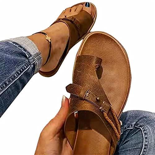 2021New Summer Sandalias ortopédicas Corrección ortopédica para mujer Anillo de cuero Toe Zapatillas de juanete ocasionales Chanclas de tacón plano Zapatos de viaje Antideslizantes (Marrón,36)