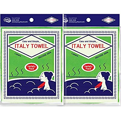 [ 8PCS ] Korean Asian Exfoliating Washcloth Italy Towel - Scrubbing Cloth for Removing Dead Skin Callus, Cleaning Pores and Reducing Acne Breakout and Blackhead (01. Green 4pcs + Green 4pcs)