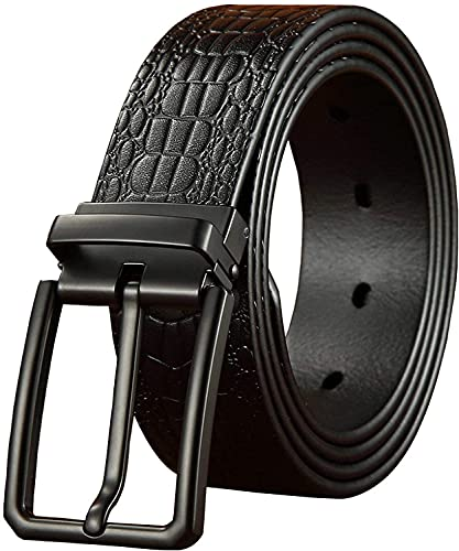 SSM Cinturón para Hombre, Cinturones de Lujo para Hombres Metal Pin Hebilla Strap Masculino Casual Jeans Cintura 130Cm Negro axilas/Negro / 130cm