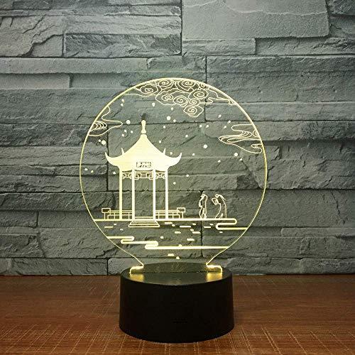 Oude Paviljoen 3D Lamp Tafellamp 7 Kleuren Veranderende Bureau Lamp 3D Lamp Novelty Led Nachtlampjes Led Licht Valentijnsdag Gift