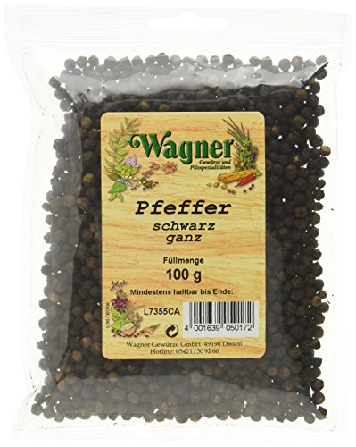 Wagner Gewürze Pfeffer schwarz ganz, 2er Pack (2 x 100 g)