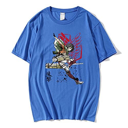 Cuello Redondo Animados T-Shirt,Camiseta de algodón de Manga Corta Ataque Diario Gigante de Manga Corta Suelta-Azul_3XLARGE