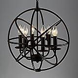 BAYCHEER Hierro forjado Globe - Lámpara de techo jaula Cage de la Industria lámpara E12/E14, diámetro de 42 cm Lámpara colgante 6 portalámparas comedor lámpara Salón araña